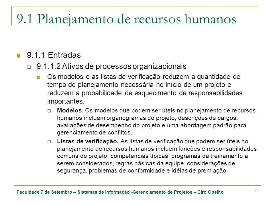 Faculdade 7 de Setembro – Sistemas de Informação -Gerenciamento de Projetos – Ciro Coelho 12 9.1 Planejamento de recursos humanos 9.1.1 Entradas 9.1.1