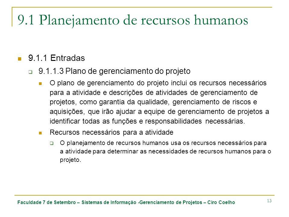 Faculdade 7 de Setembro – Sistemas de Informação -Gerenciamento de Projetos – Ciro Coelho 13 9.1 Planejamento de recursos humanos 9.1.1 Entradas 9.1.1