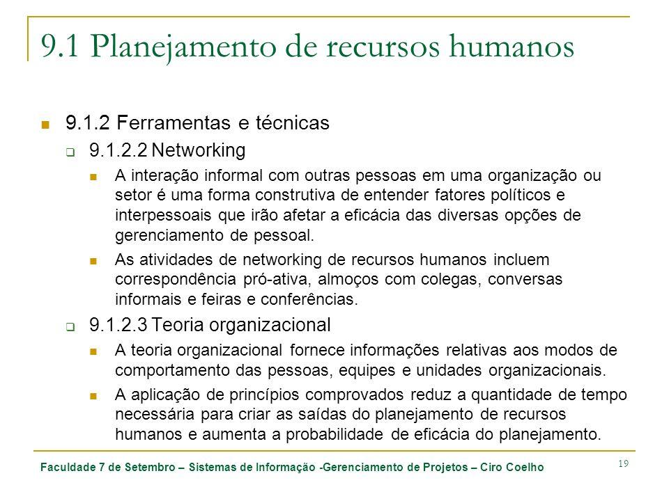 Faculdade 7 de Setembro – Sistemas de Informação -Gerenciamento de Projetos – Ciro Coelho 19 9.1 Planejamento de recursos humanos 9.1.2 Ferramentas e