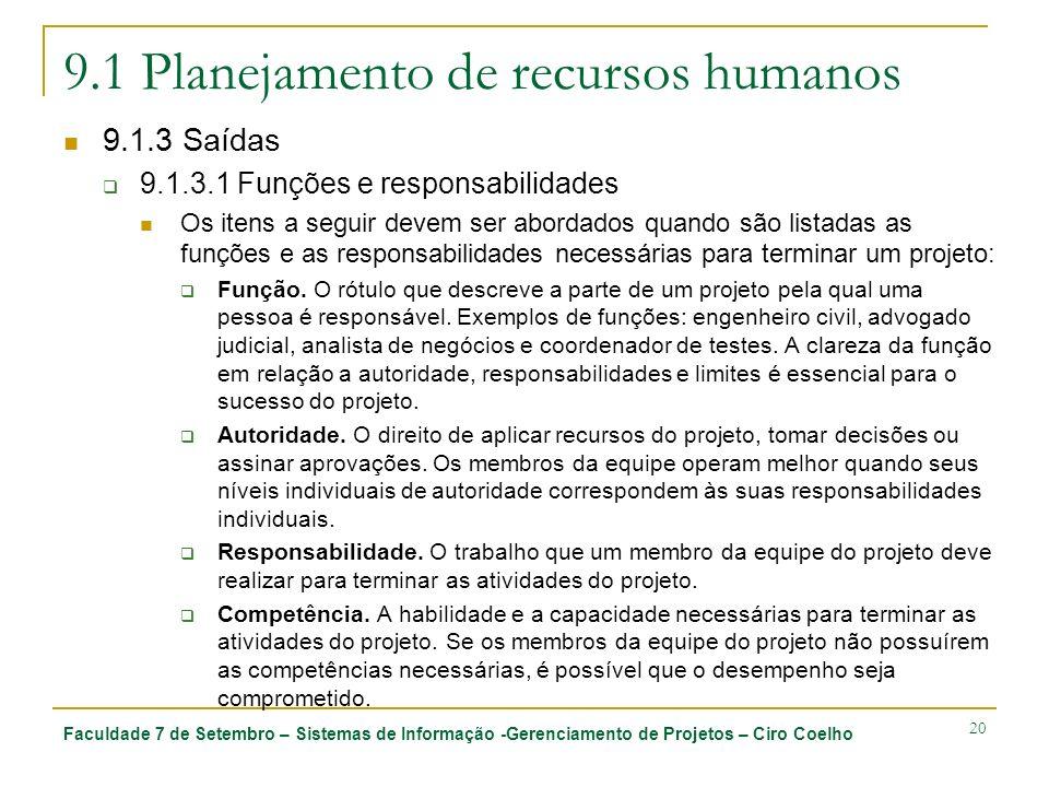 Faculdade 7 de Setembro – Sistemas de Informação -Gerenciamento de Projetos – Ciro Coelho 20 9.1 Planejamento de recursos humanos 9.1.3 Saídas 9.1.3.1