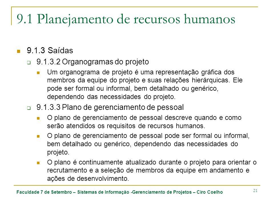 Faculdade 7 de Setembro – Sistemas de Informação -Gerenciamento de Projetos – Ciro Coelho 21 9.1 Planejamento de recursos humanos 9.1.3 Saídas 9.1.3.2
