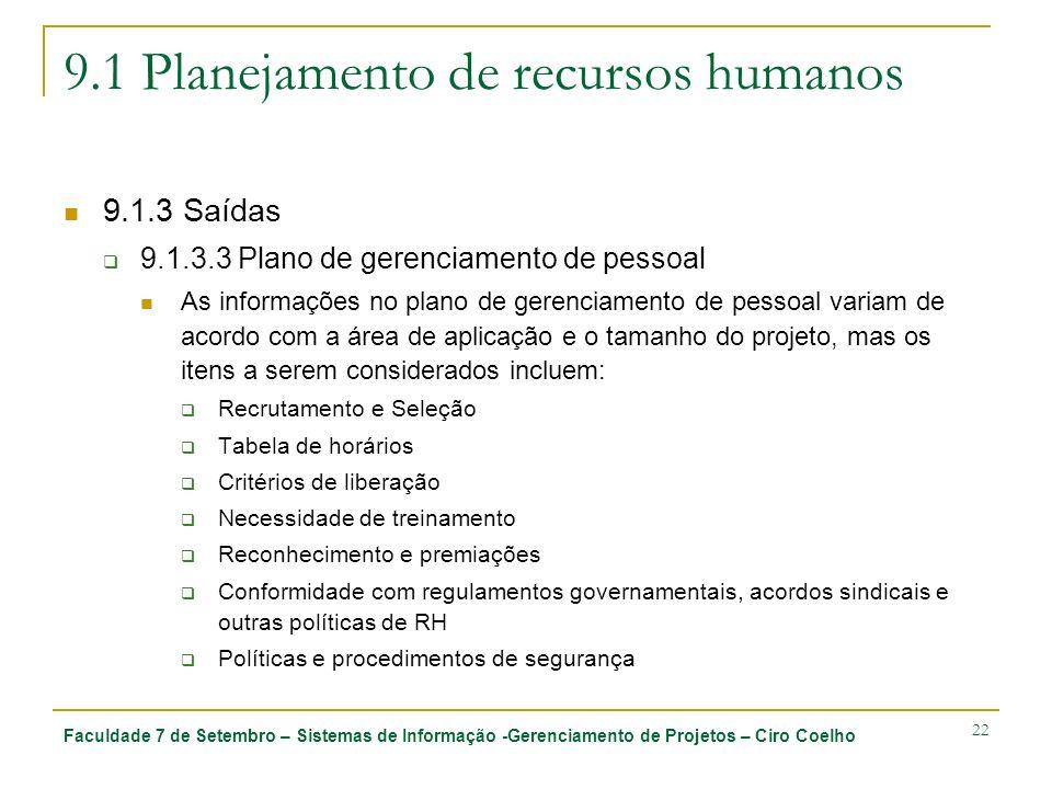Faculdade 7 de Setembro – Sistemas de Informação -Gerenciamento de Projetos – Ciro Coelho 22 9.1 Planejamento de recursos humanos 9.1.3 Saídas 9.1.3.3