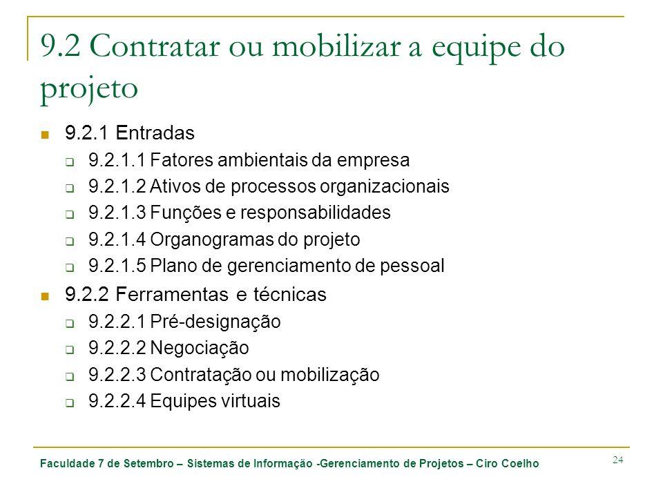 Faculdade 7 de Setembro – Sistemas de Informação -Gerenciamento de Projetos – Ciro Coelho 24 9.2 Contratar ou mobilizar a equipe do projeto 9.2.1 Entr