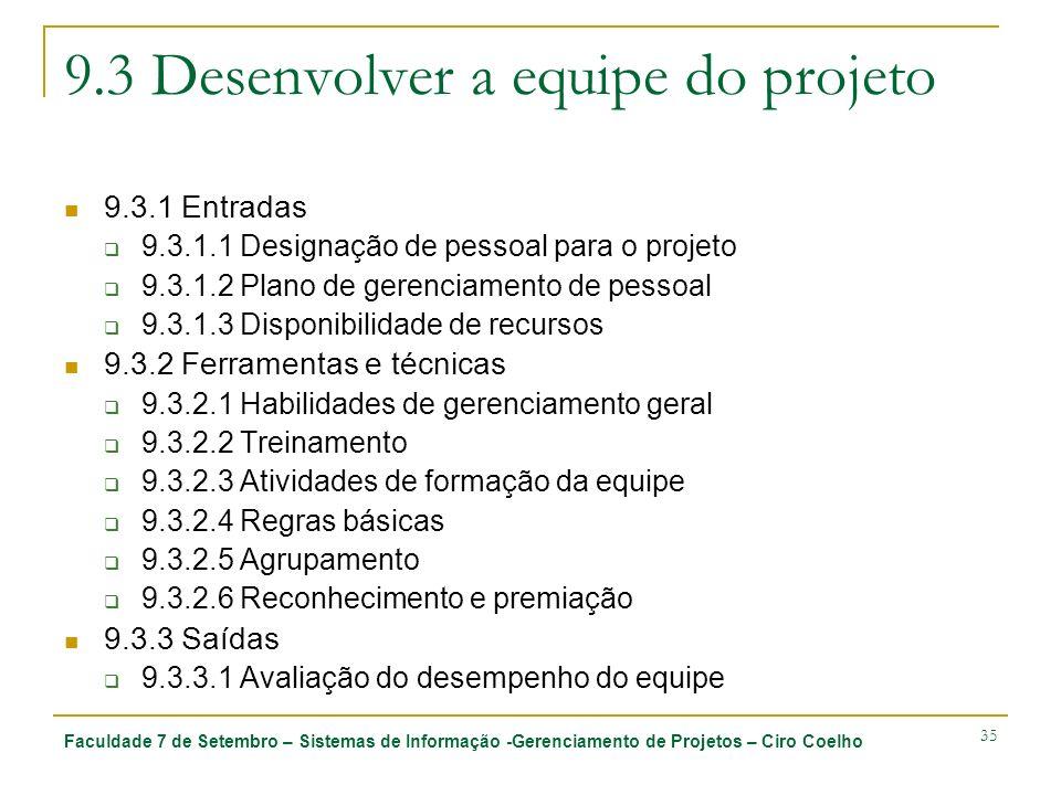 Faculdade 7 de Setembro – Sistemas de Informação -Gerenciamento de Projetos – Ciro Coelho 35 9.3 Desenvolver a equipe do projeto 9.3.1 Entradas 9.3.1.