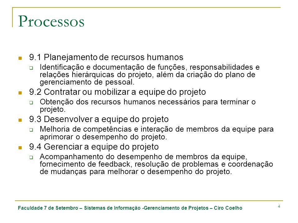 Faculdade 7 de Setembro – Sistemas de Informação -Gerenciamento de Projetos – Ciro Coelho 35 9.3 Desenvolver a equipe do projeto 9.3.1 Entradas 9.3.1.1 Designação de pessoal para o projeto 9.3.1.2 Plano de gerenciamento de pessoal 9.3.1.3 Disponibilidade de recursos 9.3.2 Ferramentas e técnicas 9.3.2.1 Habilidades de gerenciamento geral 9.3.2.2 Treinamento 9.3.2.3 Atividades de formação da equipe 9.3.2.4 Regras básicas 9.3.2.5 Agrupamento 9.3.2.6 Reconhecimento e premiação 9.3.3 Saídas 9.3.3.1 Avaliação do desempenho do equipe