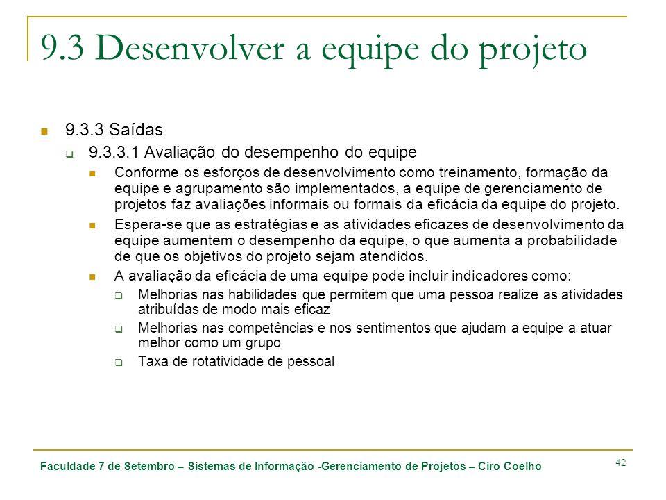 Faculdade 7 de Setembro – Sistemas de Informação -Gerenciamento de Projetos – Ciro Coelho 42 9.3 Desenvolver a equipe do projeto 9.3.3 Saídas 9.3.3.1