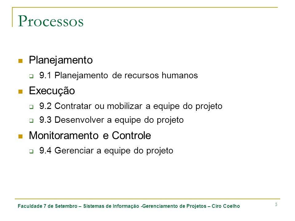 Faculdade 7 de Setembro – Sistemas de Informação -Gerenciamento de Projetos – Ciro Coelho 5 Processos Planejamento 9.1 Planejamento de recursos humano