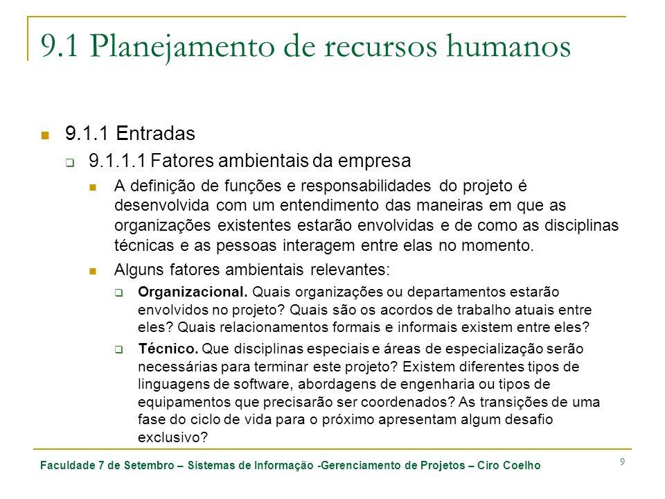 Faculdade 7 de Setembro – Sistemas de Informação -Gerenciamento de Projetos – Ciro Coelho 10 9.1 Planejamento de recursos humanos 9.1.1 Entradas 9.1.1.1 Fatores ambientais da empresa Interpessoal.