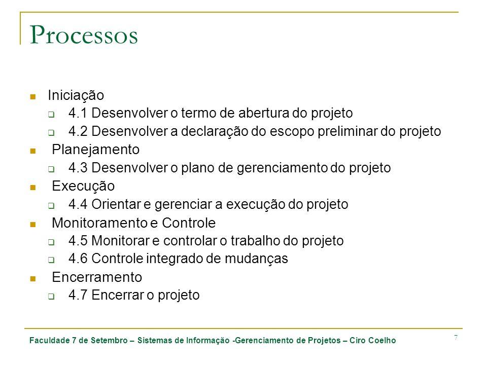 Faculdade 7 de Setembro – Sistemas de Informação -Gerenciamento de Projetos – Ciro Coelho 8 4.1 Desenvolver o termo de abertura do projeto 4.1.1 Entradas 4.1.1.1 Contrato (quando aplicável) 4.1.1.2 Declaração do trabalho do projeto 4.1.1.3 Fatores ambientais da empresa 4.1.1.4 Ativos de processos organizacionais 4.1.2 Ferramentas e técnicas 4.1.2.1 Métodos de seleção de projetos 4.1.2.2 Metodologia de gerenciamento de projetos 4.1.2.3 Sistema de informações do gerenciamento de projetos 4.1.2.4 Opinião especializada 4.1.3 Saídas 4.1.3.1 Termo de abertura do projeto