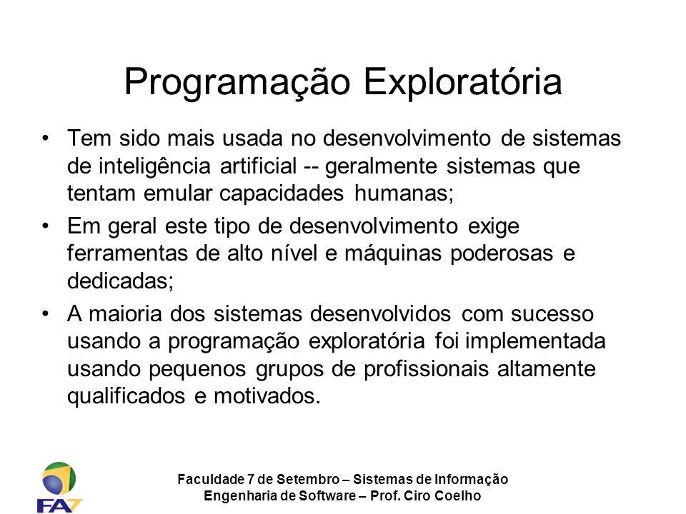 Faculdade 7 de Setembro – Sistemas de Informação Engenharia de Software – Prof. Ciro Coelho Programação Exploratória Tem sido mais usada no desenvolvi