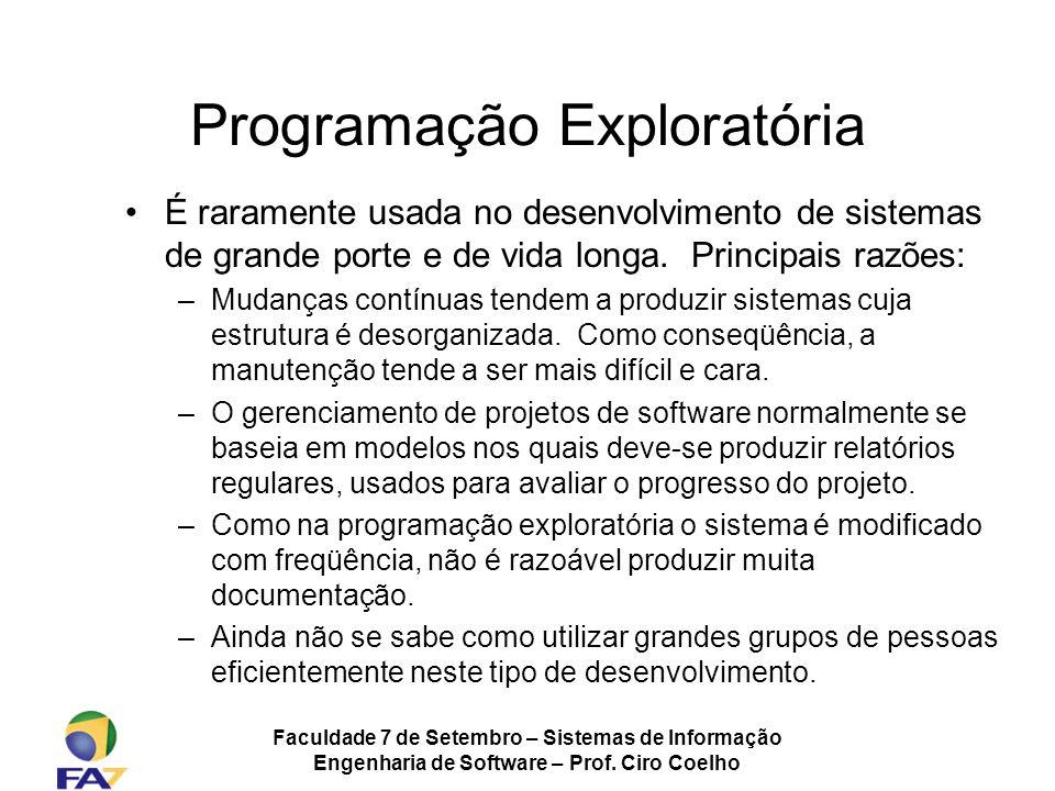 Faculdade 7 de Setembro – Sistemas de Informação Engenharia de Software – Prof. Ciro Coelho Programação Exploratória É raramente usada no desenvolvime