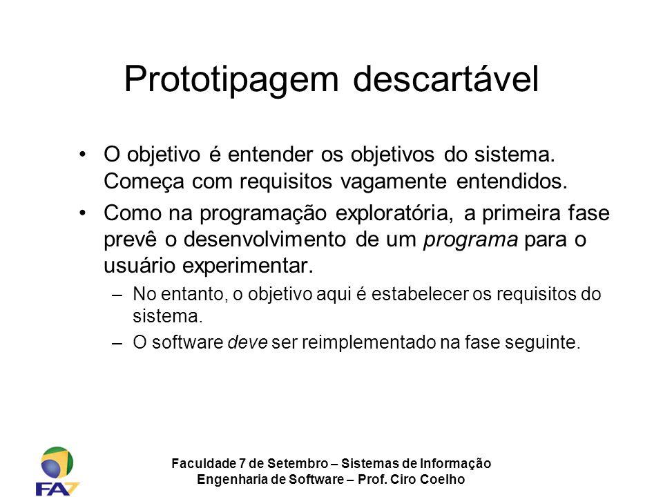 Faculdade 7 de Setembro – Sistemas de Informação Engenharia de Software – Prof. Ciro Coelho Prototipagem descartável O objetivo é entender os objetivo