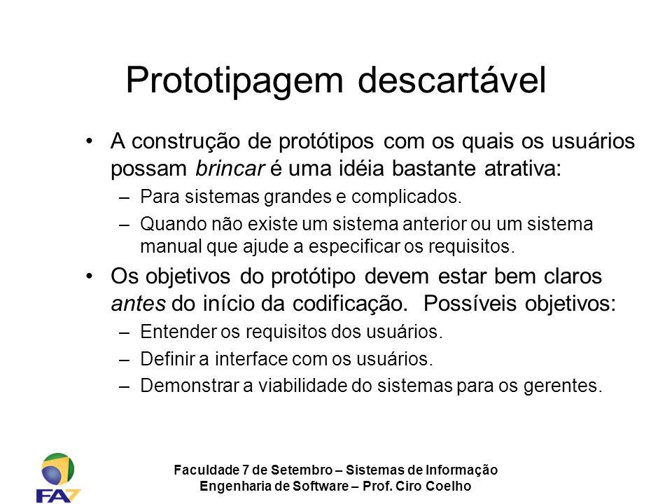 Faculdade 7 de Setembro – Sistemas de Informação Engenharia de Software – Prof. Ciro Coelho Prototipagem descartável A construção de protótipos com os