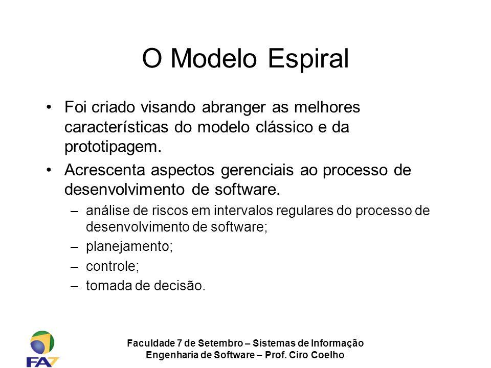 Faculdade 7 de Setembro – Sistemas de Informação Engenharia de Software – Prof. Ciro Coelho O Modelo Espiral Foi criado visando abranger as melhores c