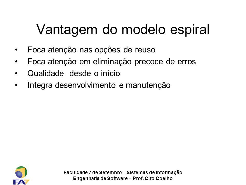 Faculdade 7 de Setembro – Sistemas de Informação Engenharia de Software – Prof. Ciro Coelho Vantagem do modelo espiral Foca atenção nas opções de reus