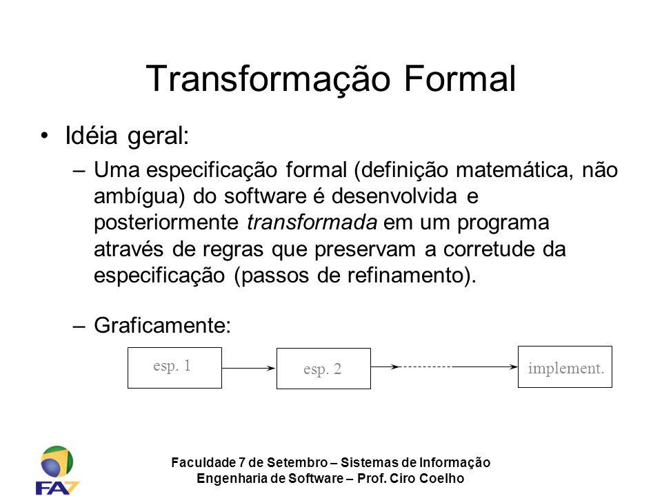 Faculdade 7 de Setembro – Sistemas de Informação Engenharia de Software – Prof. Ciro Coelho Transformação Formal Idéia geral: –Uma especificação forma