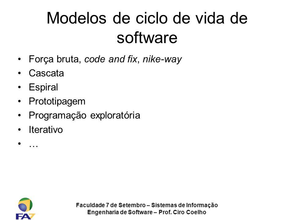 Faculdade 7 de Setembro – Sistemas de Informação Engenharia de Software – Prof. Ciro Coelho Modelos de ciclo de vida de software Força bruta, code and