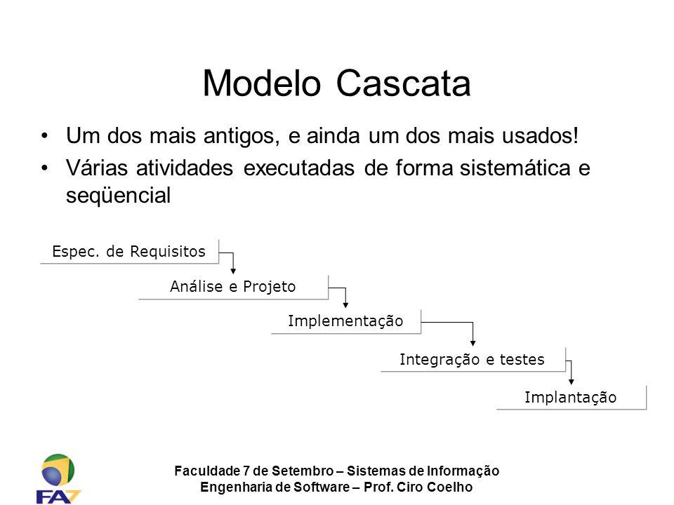 Faculdade 7 de Setembro – Sistemas de Informação Engenharia de Software – Prof. Ciro Coelho Modelo Cascata Um dos mais antigos, e ainda um dos mais us