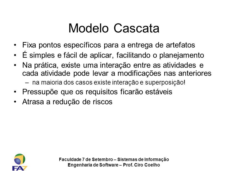 Faculdade 7 de Setembro – Sistemas de Informação Engenharia de Software – Prof. Ciro Coelho Modelo Cascata Fixa pontos específicos para a entrega de a