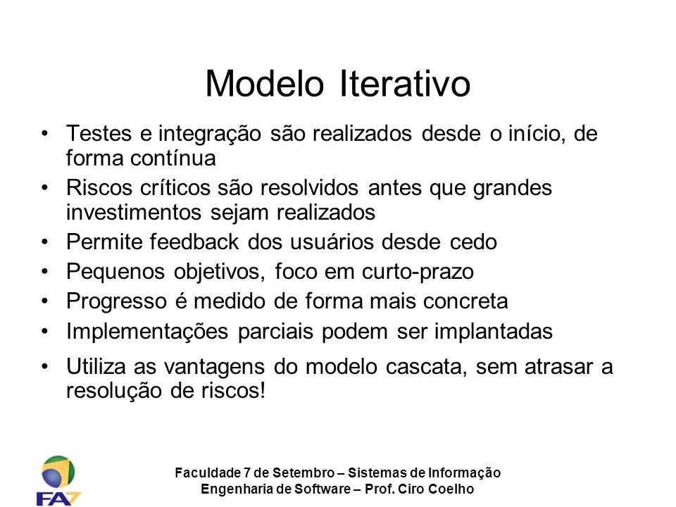 Faculdade 7 de Setembro – Sistemas de Informação Engenharia de Software – Prof. Ciro Coelho Modelo Iterativo Testes e integração são realizados desde