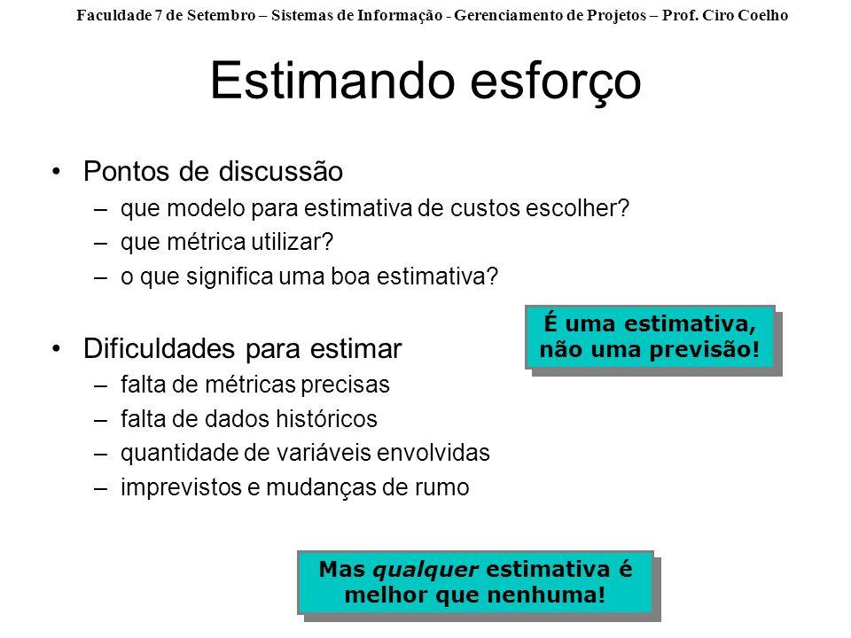 Faculdade 7 de Setembro – Sistemas de Informação - Gerenciamento de Projetos – Prof. Ciro Coelho Estimando esforço Pontos de discussão –que modelo par