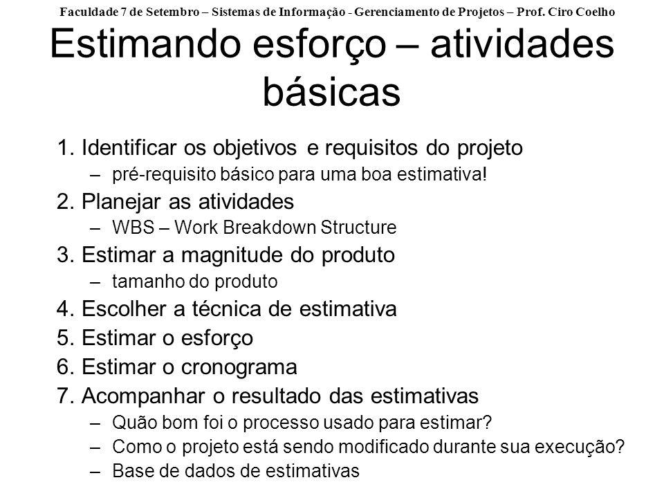 Faculdade 7 de Setembro – Sistemas de Informação - Gerenciamento de Projetos – Prof. Ciro Coelho Estimando esforço – atividades básicas 1.Identificar