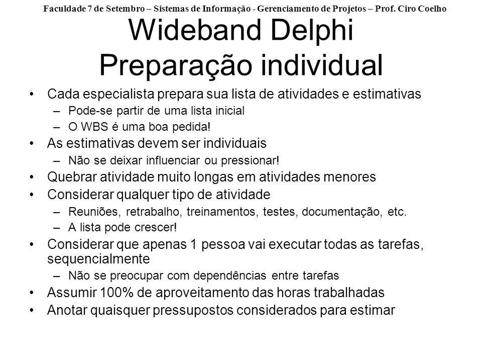Faculdade 7 de Setembro – Sistemas de Informação - Gerenciamento de Projetos – Prof. Ciro Coelho Wideband Delphi Preparação individual Cada especialis