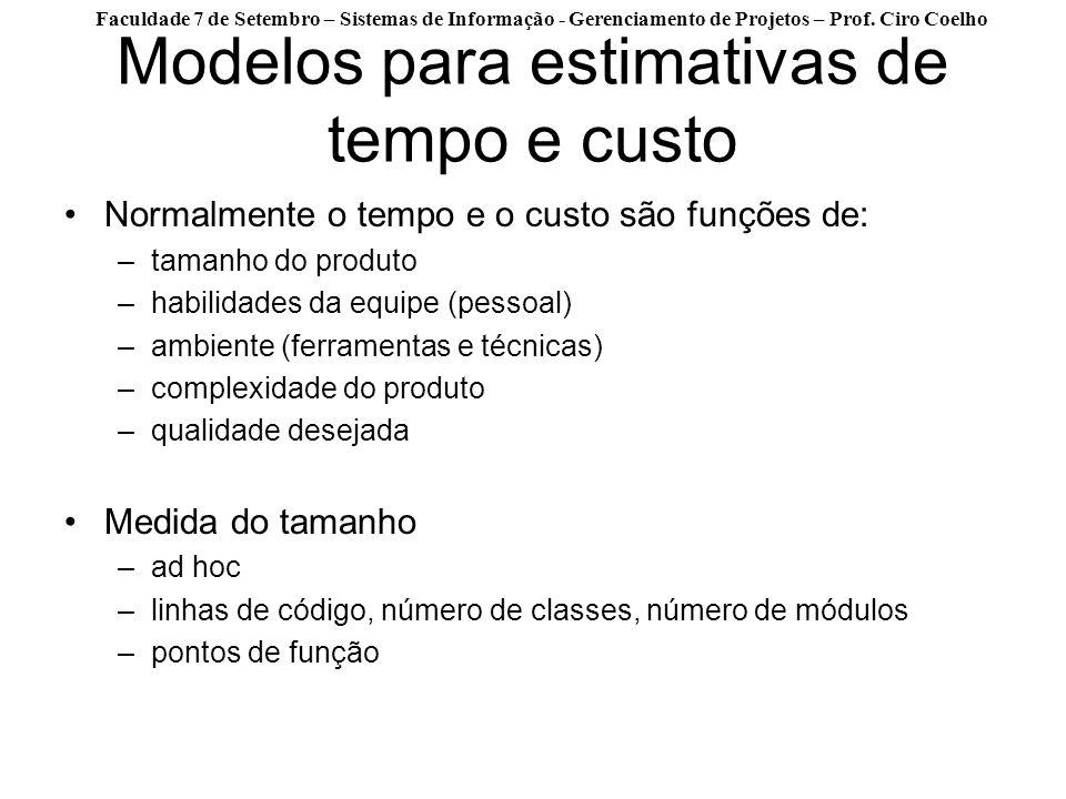Faculdade 7 de Setembro – Sistemas de Informação - Gerenciamento de Projetos – Prof. Ciro Coelho Modelos para estimativas de tempo e custo Normalmente