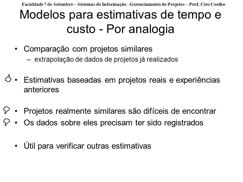 Faculdade 7 de Setembro – Sistemas de Informação - Gerenciamento de Projetos – Prof. Ciro Coelho Modelos para estimativas de tempo e custo - Por analo