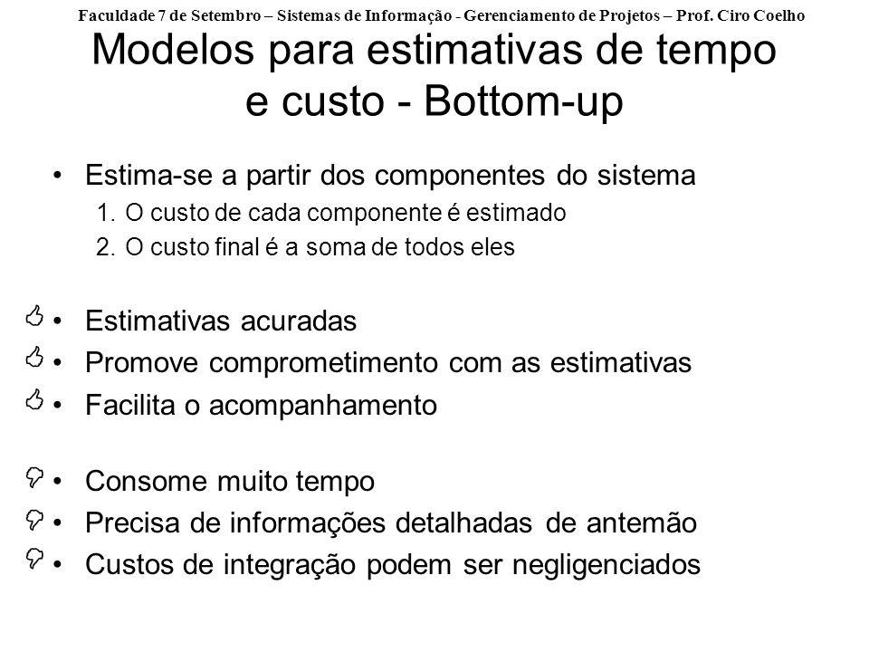 Faculdade 7 de Setembro – Sistemas de Informação - Gerenciamento de Projetos – Prof. Ciro Coelho Modelos para estimativas de tempo e custo - Bottom-up