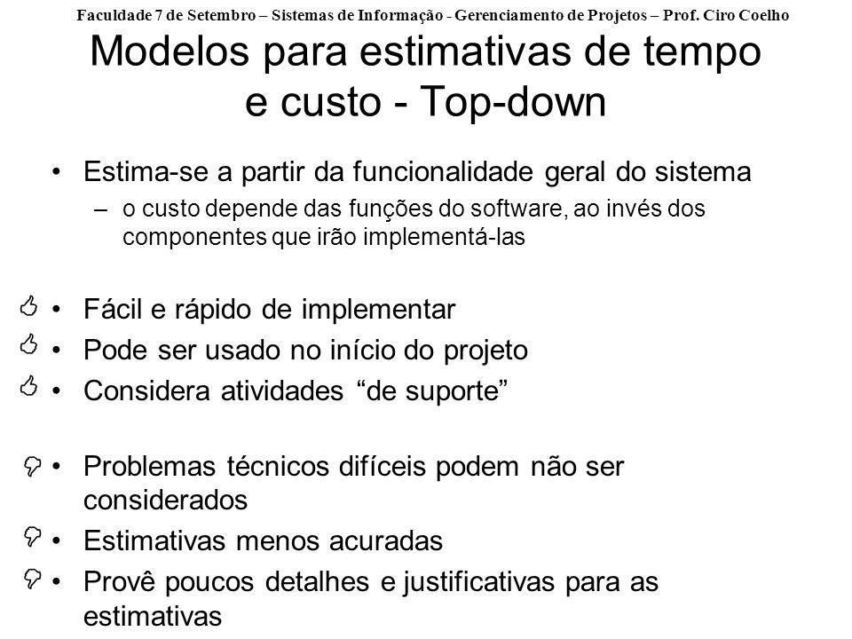 Faculdade 7 de Setembro – Sistemas de Informação - Gerenciamento de Projetos – Prof. Ciro Coelho Modelos para estimativas de tempo e custo - Top-down