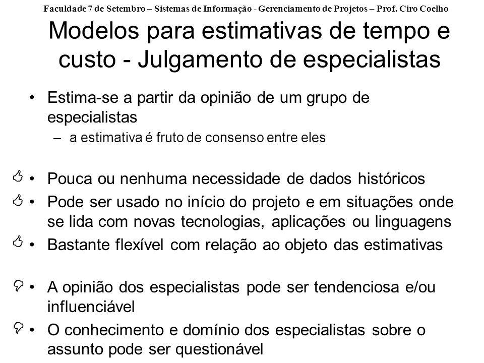 Faculdade 7 de Setembro – Sistemas de Informação - Gerenciamento de Projetos – Prof. Ciro Coelho Modelos para estimativas de tempo e custo - Julgament