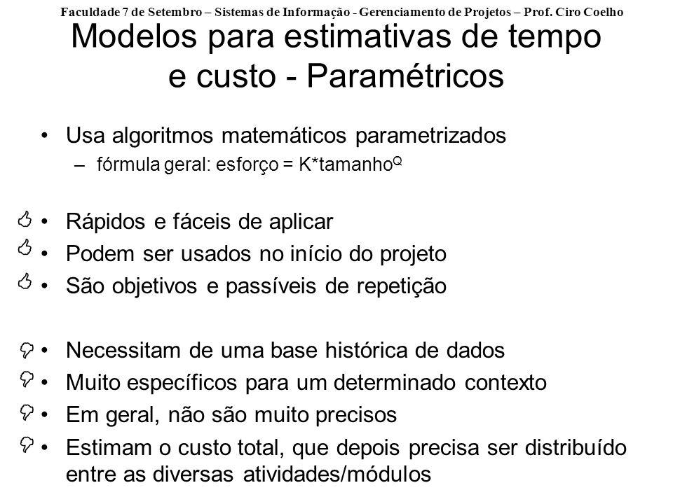 Faculdade 7 de Setembro – Sistemas de Informação - Gerenciamento de Projetos – Prof. Ciro Coelho Modelos para estimativas de tempo e custo - Paramétri