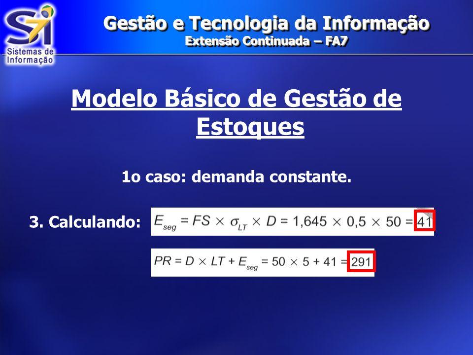 Gestão e Tecnologia da Informação Extensão Continuada – FA7 Modelo Básico de Gestão de Estoques 1o caso: demanda constante. 3. Calculando: