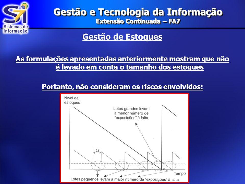 Gestão e Tecnologia da Informação Extensão Continuada – FA7 Gestão de Estoques As formulações apresentadas anteriormente mostram que não é levado em c