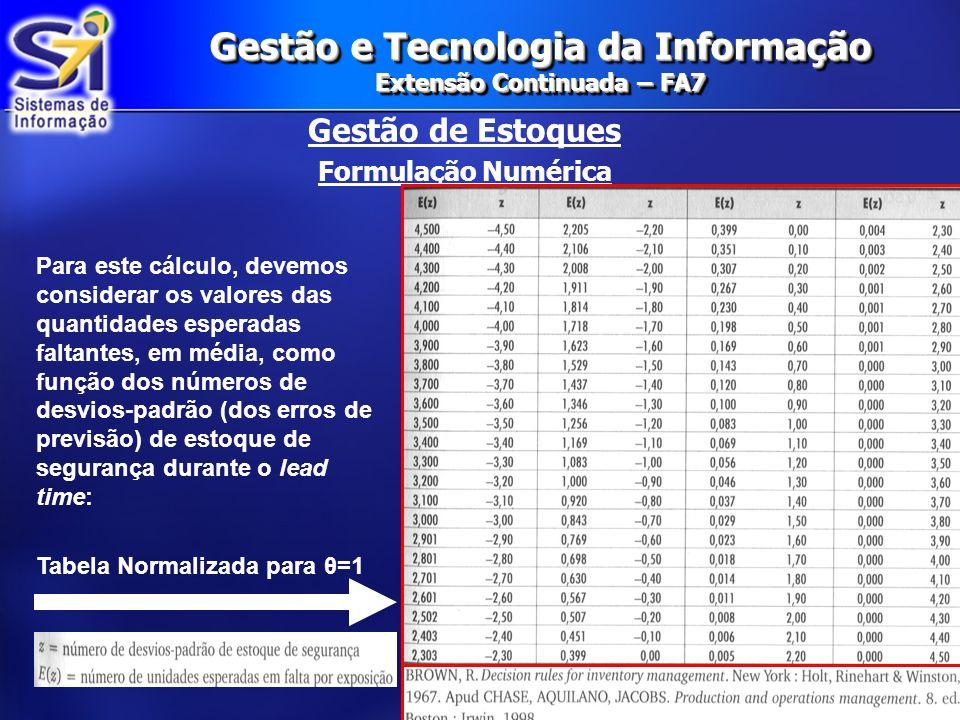 Gestão e Tecnologia da Informação Extensão Continuada – FA7 Gestão de Estoques Formulação Numérica Para este cálculo, devemos considerar os valores da