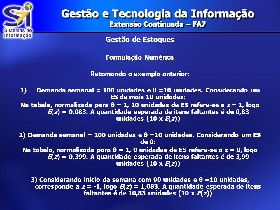 Gestão e Tecnologia da Informação Extensão Continuada – FA7 Gestão de Estoques Formulação Numérica Retomando o exemplo anterior: 1)Demanda semanal = 1