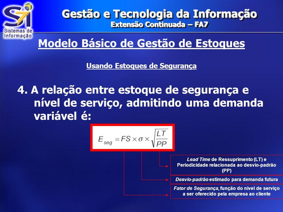 Gestão e Tecnologia da Informação Extensão Continuada – FA7 Gestão de Estoques Além disso, não oferece a possibilidade de um estoque de segurança NEGATIVO.