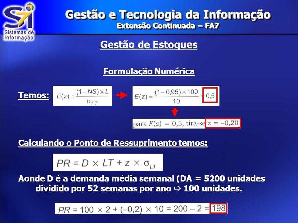 Gestão e Tecnologia da Informação Extensão Continuada – FA7 Gestão de Estoques Formulação Numérica Temos: Calculando o Ponto de Ressuprimento temos: A