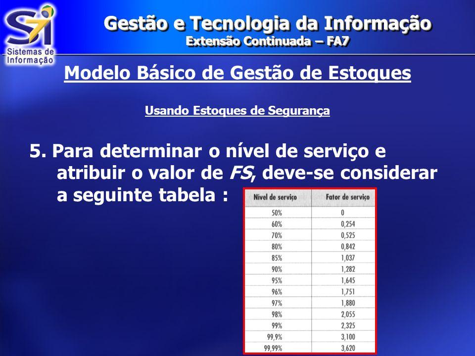 Gestão e Tecnologia da Informação Extensão Continuada – FA7 Modelo Básico de Gestão de Estoques Usando Estoques de Segurança 5. Para determinar o níve
