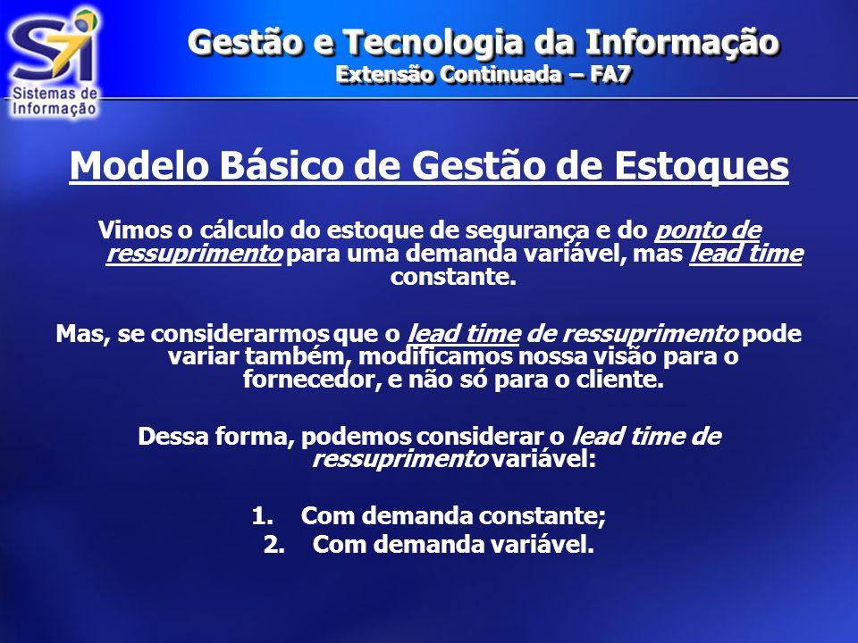 Gestão e Tecnologia da Informação Extensão Continuada – FA7 Gestão de Estoques Formulação Numérica Retomando o exemplo anterior: 1)Demanda semanal = 100 unidades e θ =10 unidades.