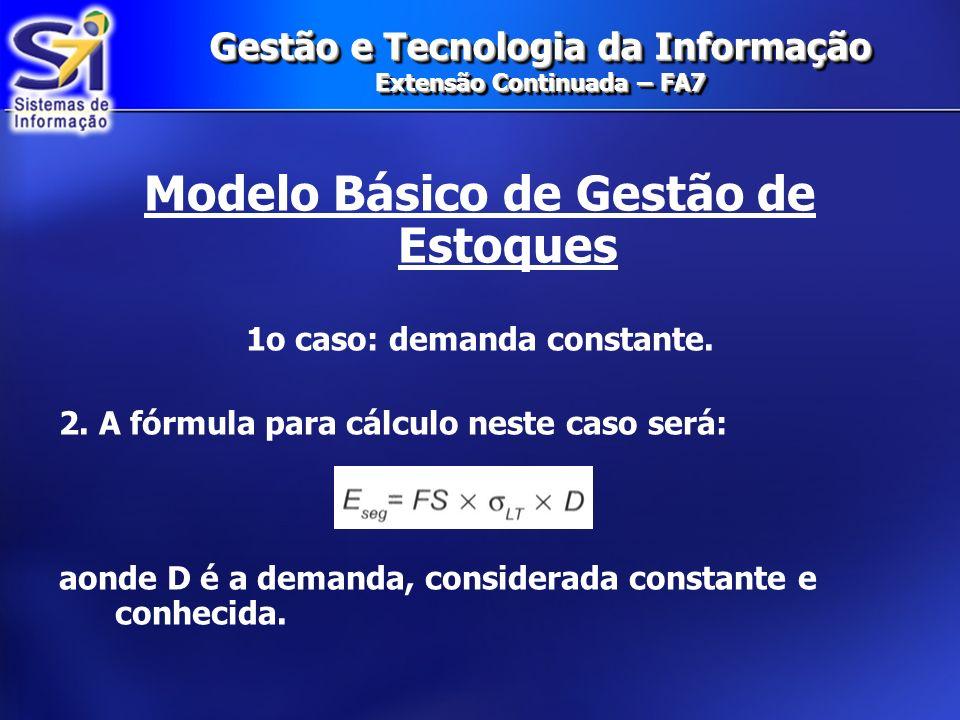 Gestão e Tecnologia da Informação Extensão Continuada – FA7 Modelo Básico de Gestão de Estoques 1o caso: demanda constante. 2. A fórmula para cálculo