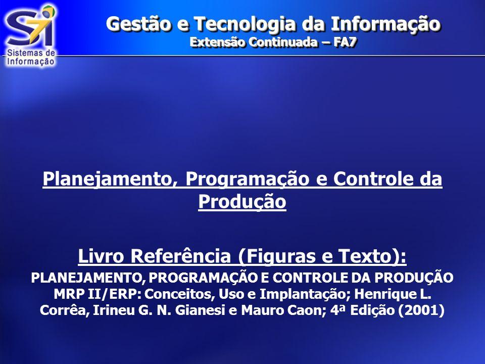 Gestão e Tecnologia da Informação Extensão Continuada – FA7 Planejamento, Programação e Controle da Produção Livro Referência (Figuras e Texto): PLANE