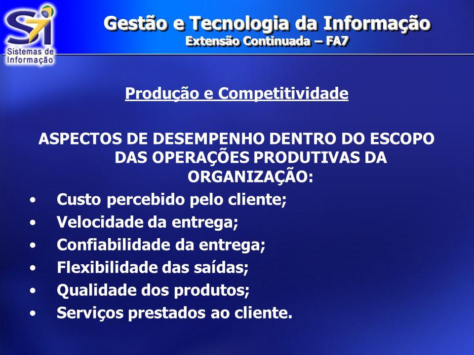 Gestão e Tecnologia da Informação Extensão Continuada – FA7 Produção e Competitividade ASPECTOS DE DESEMPENHO DENTRO DO ESCOPO DAS OPERAÇÕES PRODUTIVA