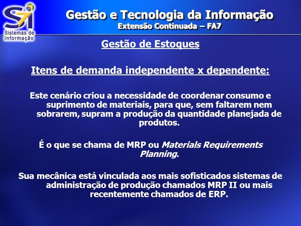Gestão e Tecnologia da Informação Extensão Continuada – FA7 Gestão de Estoques Itens de demanda independente x dependente: Este cenário criou a necess