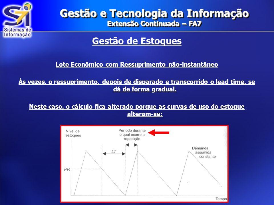Gestão e Tecnologia da Informação Extensão Continuada – FA7 Gestão de Estoques Lote Econômico com Ressuprimento não-instantâneo O cálculo segue a seguinte fórmula: