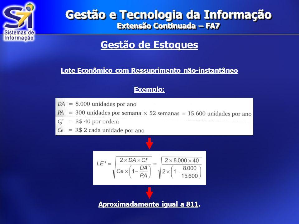 Gestão e Tecnologia da Informação Extensão Continuada – FA7 Gestão de Estoques Lote Econômico com Ressuprimento não-instantâneo Exemplo: Aproximadamen
