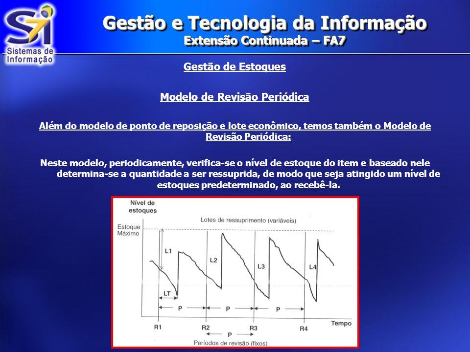 Gestão e Tecnologia da Informação Extensão Continuada – FA7 Gestão de Estoques Modelo de Revisão Periódica Além do modelo de ponto de reposição e lote