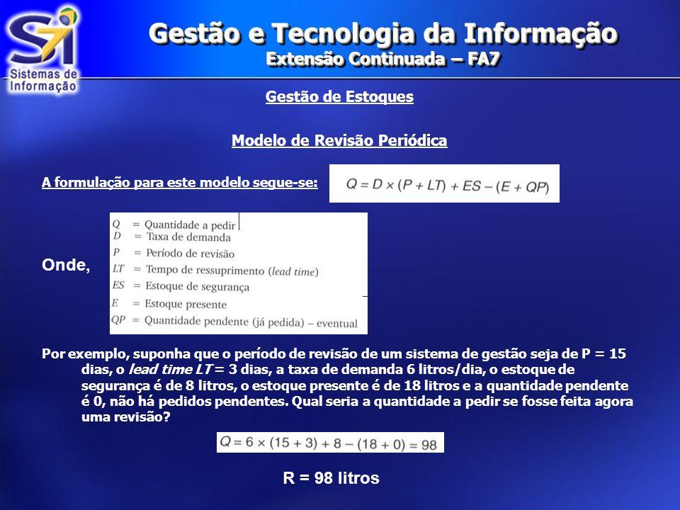 Gestão e Tecnologia da Informação Extensão Continuada – FA7 Gestão de Estoques Modelo de Revisão Periódica A formulação para este modelo segue-se: Por