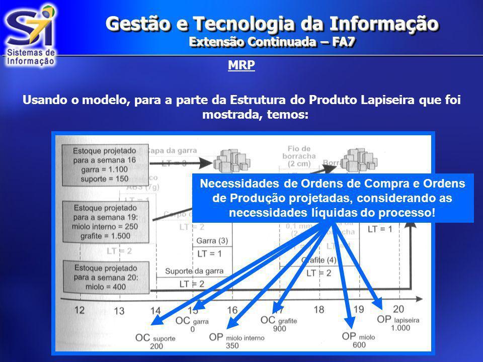 Gestão e Tecnologia da Informação Extensão Continuada – FA7 MRP Usando o modelo, para a parte da Estrutura do Produto Lapiseira que foi mostrada, temo